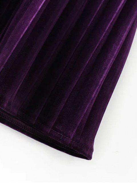 fancy Long Sleeve Vintage Velvet Pleated Dress - BLACK M Mobile