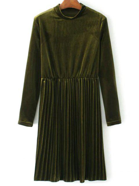womens Long Sleeve Vintage Velvet Pleated Dress - GREEN L Mobile