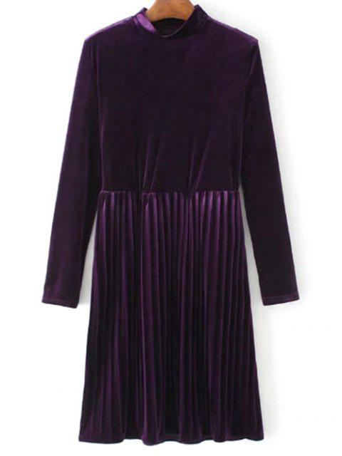 best Long Sleeve Vintage Velvet Pleated Dress - PURPLE S Mobile