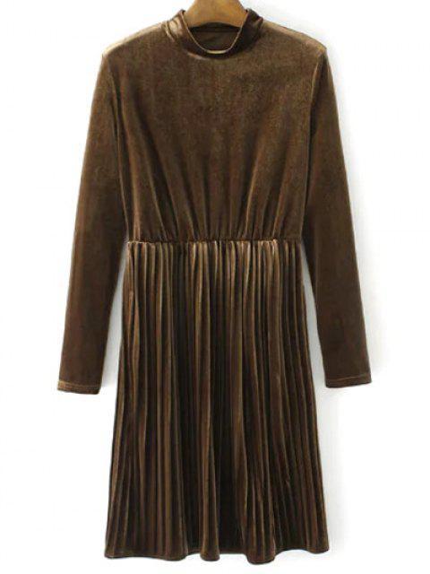 new Long Sleeve Vintage Velvet Pleated Dress - BROWN M Mobile