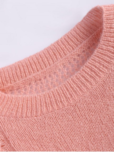 hot Cable Knit Batwing Sleeve Jumper - ORANGEPINK ONE SIZE Mobile