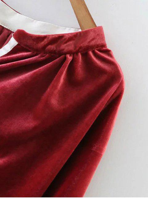 outfit Oversized High-Low Velvet Blouse - WINE RED L Mobile