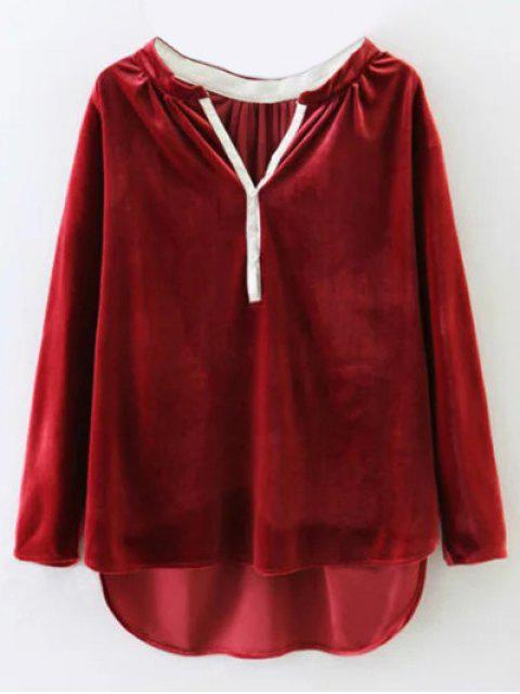outfits Oversized High-Low Velvet Blouse - WINE RED M Mobile