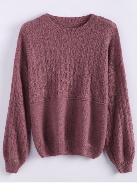 outfits Dropped Shoulder Crew Neck Sweater - CLARET ONE SIZE Mobile