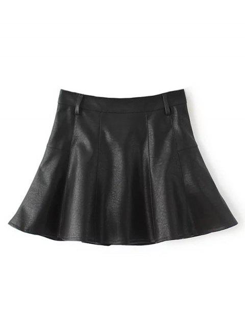women's A Line PU Leather Mini Culotte Skirt - BLACK L Mobile