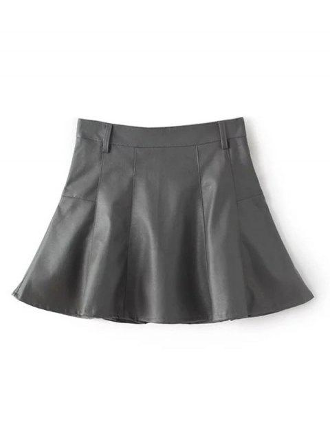 best A Line PU Leather Mini Culotte Skirt - GRAY L Mobile