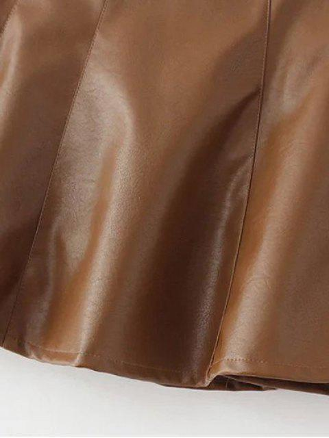 online A Line PU Leather Mini Culotte Skirt - GRAY M Mobile