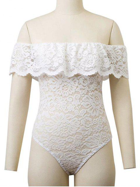 shop Flounced Off The Shoulder Lace Bodysuit - WHITE M Mobile