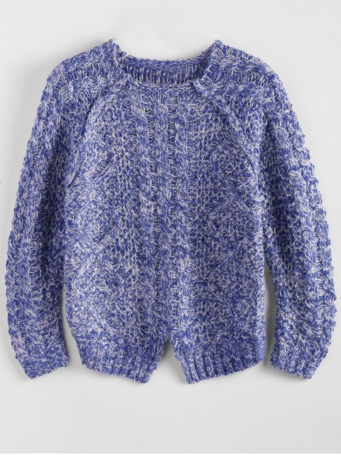 shops Heather Cable Raglan Sweater - BLUE ONE SIZE Mobile