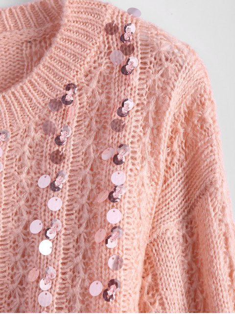 latest Crew Neck Sequins Sweater - PINK ONE SIZE Mobile