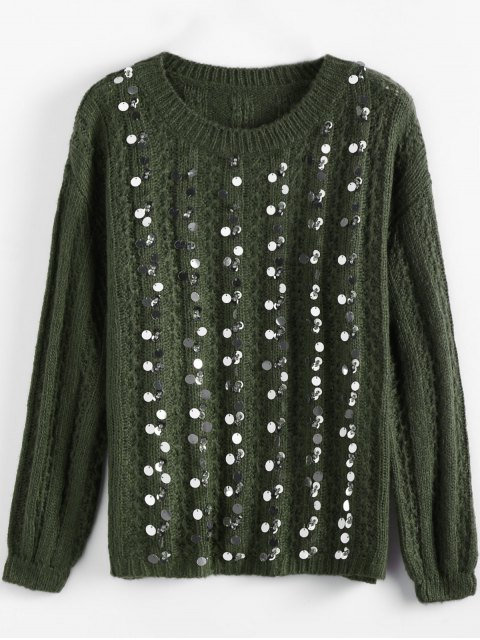 trendy Crew Neck Sequins Sweater - ARMY GREEN ONE SIZE Mobile