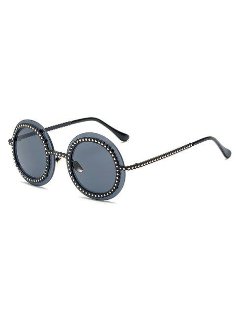 new Rivet Gear Shape Round Sunglasses - BLACK  Mobile