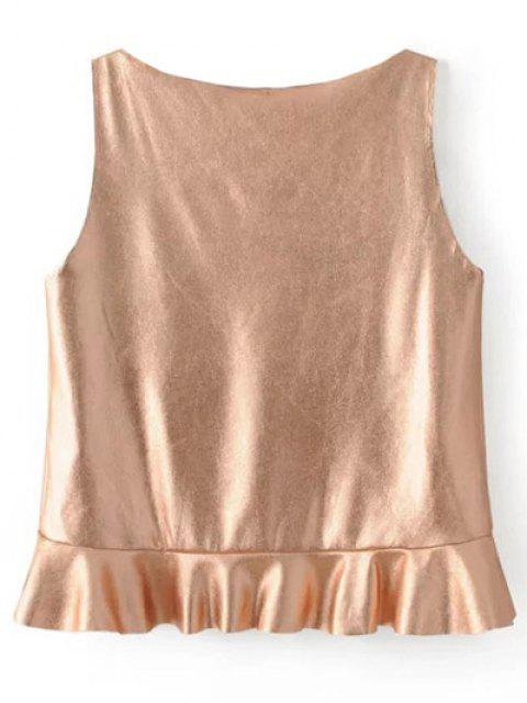 chic V Neck Flounced Tank Top - ROSE GOLD XS Mobile