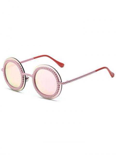 hot Rivet Gear Shape Round Mirrored Sunglasses -   Mobile