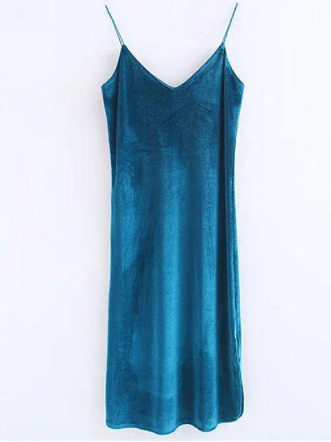 shops Cami Velvet Midi Dress - PEACOCK BLUE M Mobile