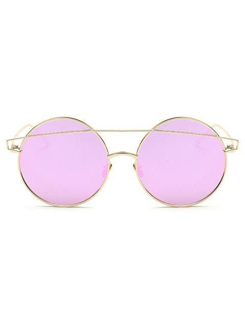chic Metallic Crossbar Round Mirrored Sunglasses - LIGHT PURPLE  Mobile