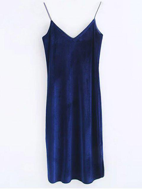 women's Cami Velvet Midi Dress - PURPLISH BLUE M Mobile