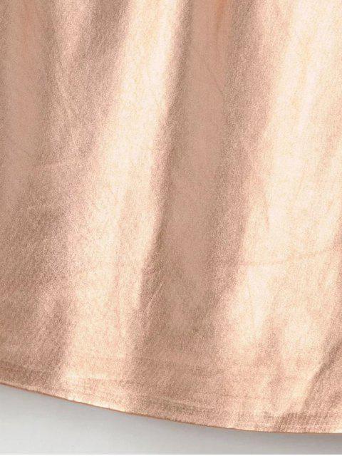 shops V Neck Ruffles Mini Tank Dress - ROSE GOLD S Mobile