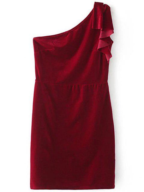 robe crayon asym trique volants rouge vineux robes moulantes m zaful. Black Bedroom Furniture Sets. Home Design Ideas