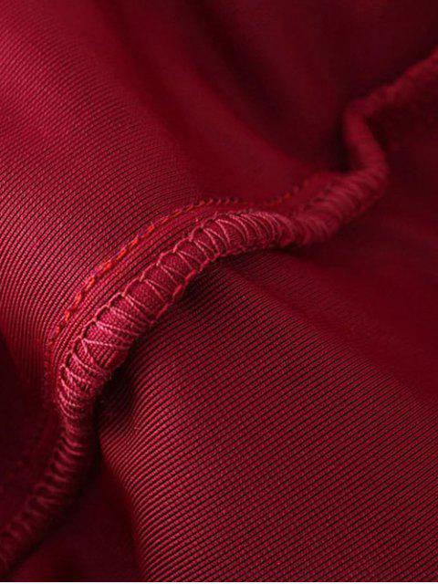 shop One Shoulder Velvet Ruffle Pencil Dress - WINE RED L Mobile