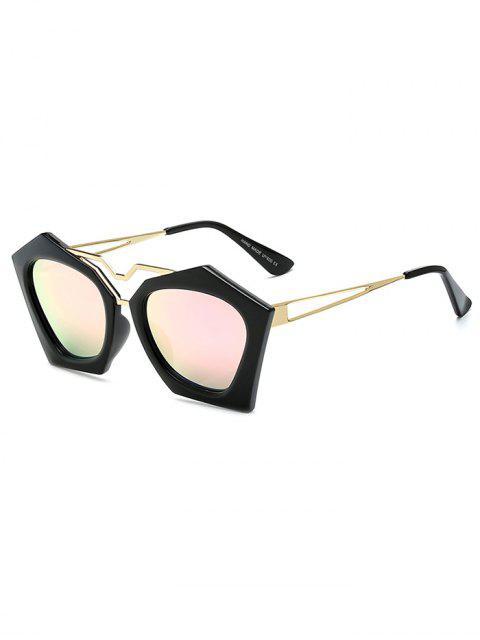 buy Irregular Mirrored Sunglasses - PINK  Mobile