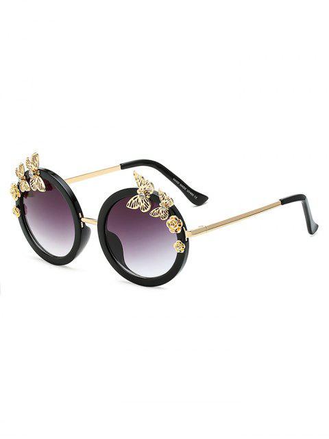 women's Rhinestone Butterfly Oval Sunglasses - BLACK  Mobile