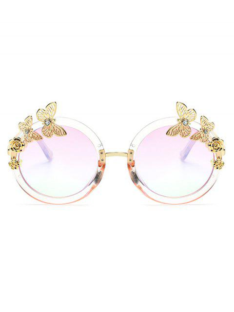 online Butterfly Oval Mirrored Sunglasses - CLEAR WHITE  Mobile