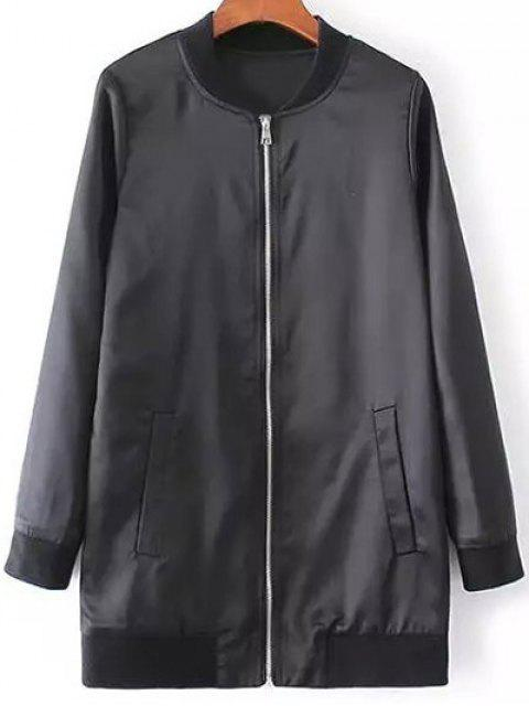 outfit Rose Embroidered Bomber Coat - BLACK S Mobile