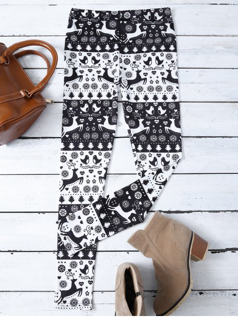 best Christmas Printed Leggings - WHITE AND BLACK M Mobile