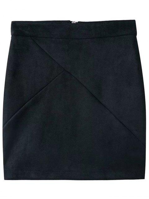 women Fake Suede Mini Skirt - BLACK S Mobile