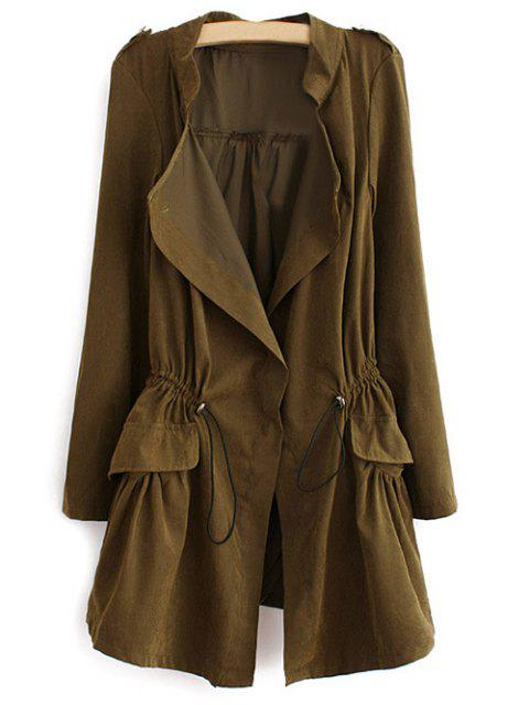 unique Epaulet Drawstring Coat - ARMY GREEN L Mobile