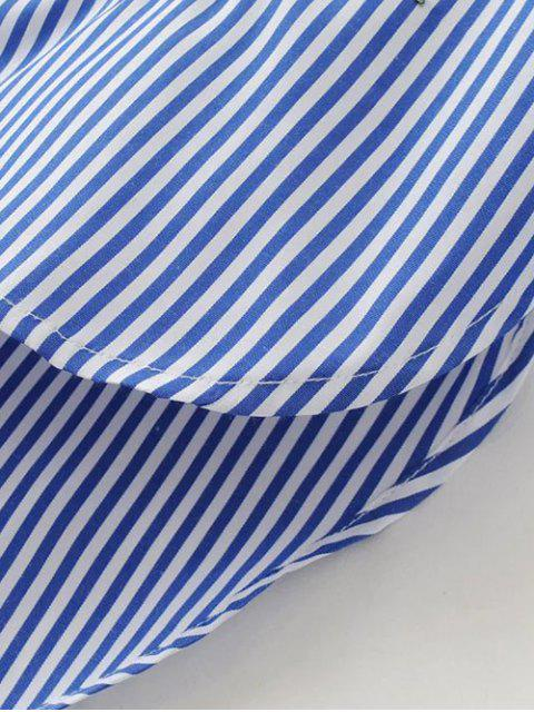 best Floral Embroidered Tied Striped Shirt - STRIPE S Mobile
