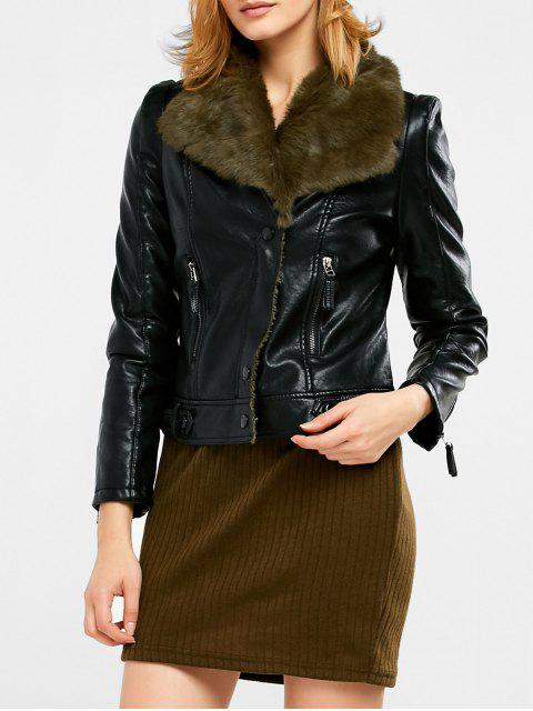 buy Biker Jacket in Faux Shearling - BLACK AND GREEN XL Mobile