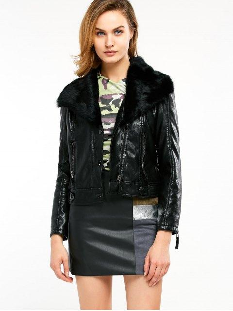 lady Biker Jacket in Faux Shearling - BLACK M Mobile