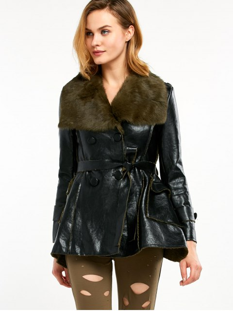 outfits Faux Fur Collar Faux Leather Coat - BLACK AND GREEN L Mobile