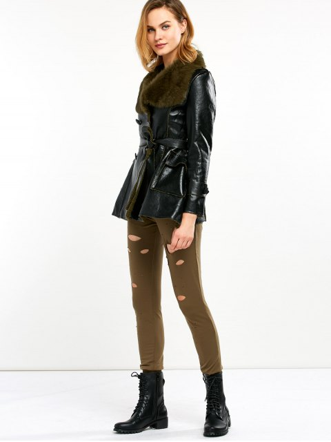 shop Faux Fur Collar Faux Leather Coat - BLACK AND GREEN M Mobile