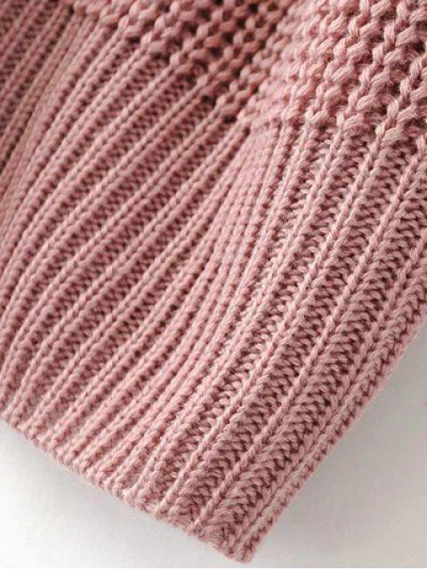 buy Cable Knit Floral Embroidered Jumper - PINK M Mobile