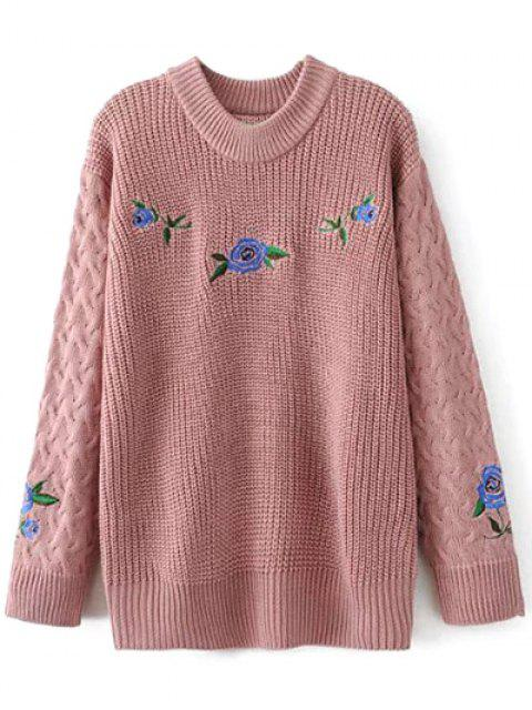 womens Cable Knit Floral Embroidered Jumper - PINK S Mobile