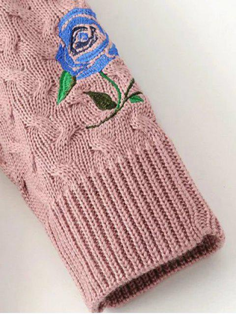 women's Cable Knit Floral Embroidered Jumper - BLACK M Mobile