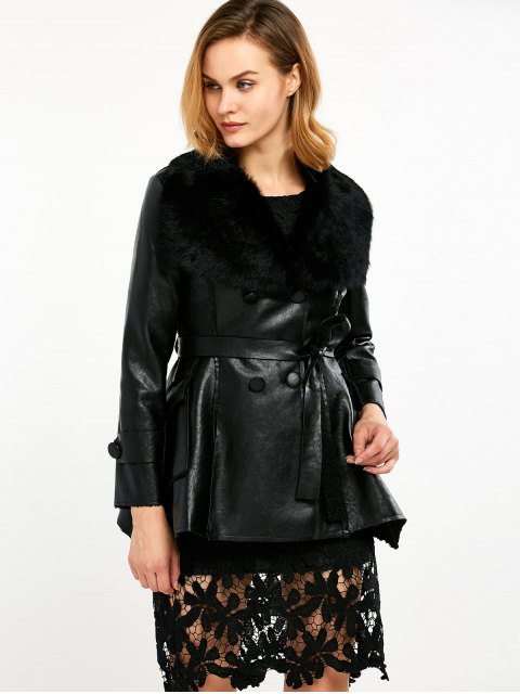 latest Faux Fur Collar Faux Leather Coat - BLACK L Mobile