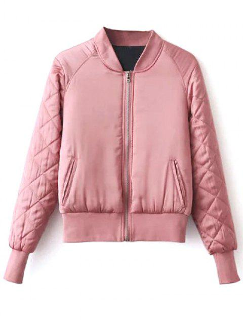 women's Stand Neck Quilted Jacket - PINK L Mobile