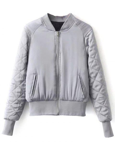 online Stand Neck Quilted Jacket - GRAY L Mobile