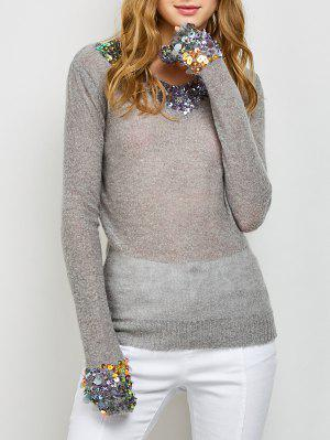 V Neck Sequins Sweater - Gray