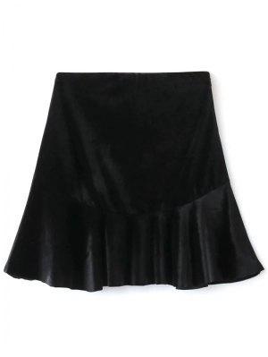 Terciopelo De Volantes Una Línea De Falda - Negro L
