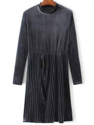 Long Sleeve Vintage Velvet Pleated Dress - Gray L