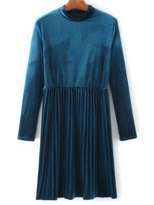 Long Sleeve Vintage Velvet Pleated Dress - Blue L