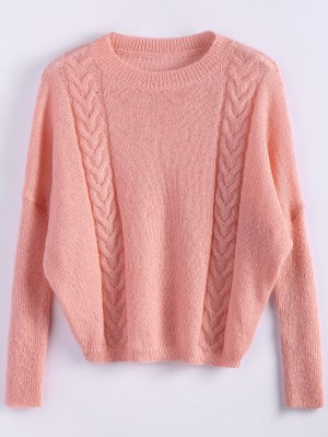 Cable Knit Batwing Sleeve Jumper - Orangepink