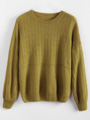 Dropped Shoulder Crew Neck Sweater - Bluish Yellow