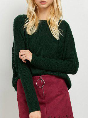 Cable Knit Batwing Sleeve Jumper - Green