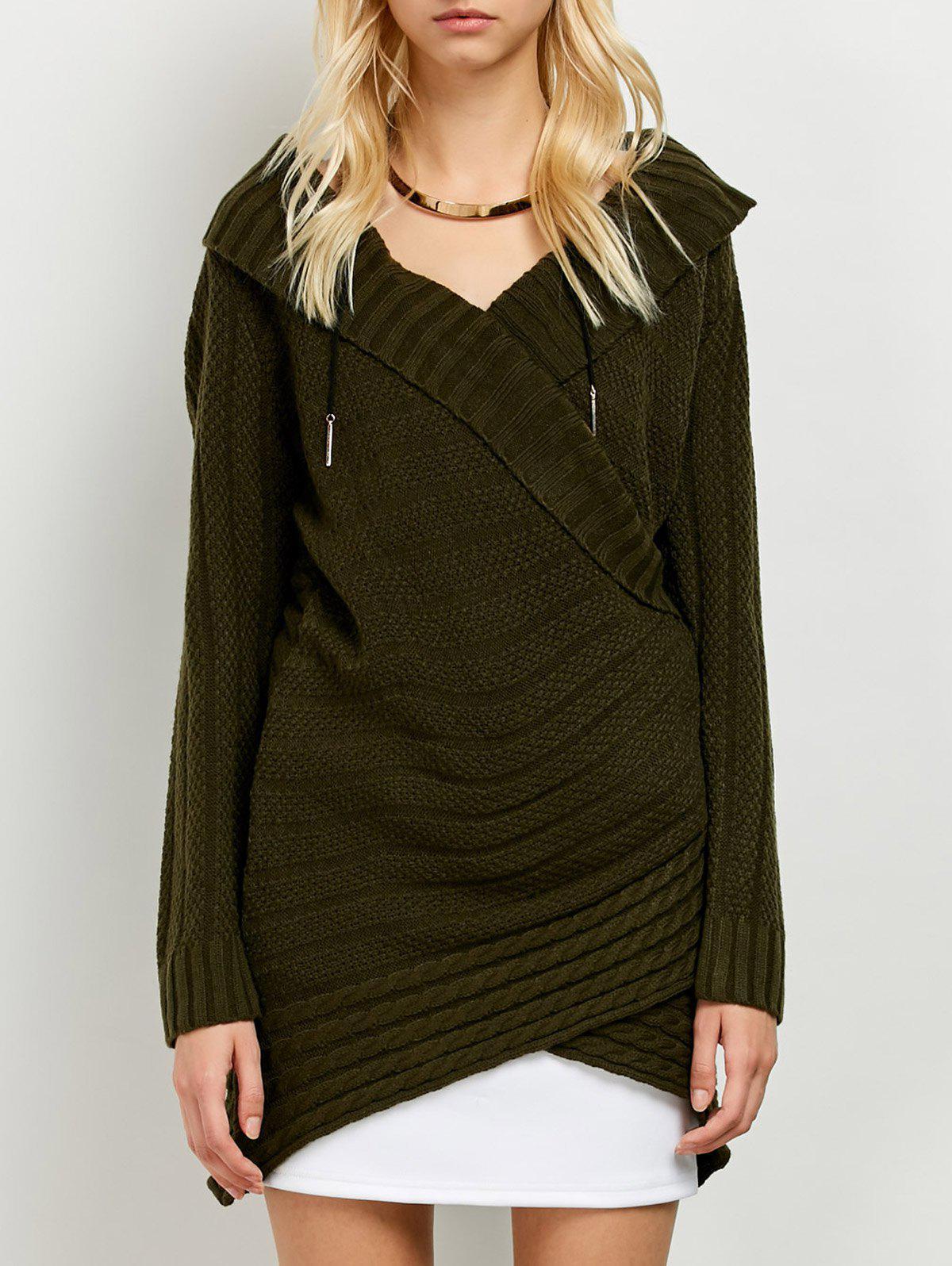 Longline Surplice Sweater, Army green